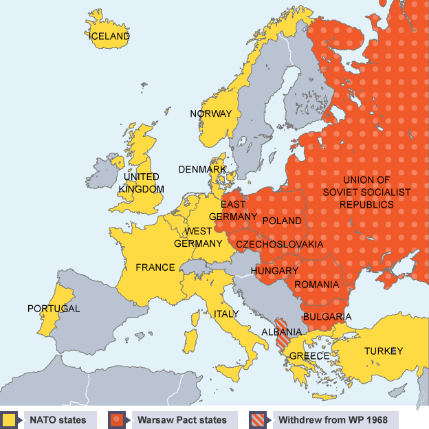 Warsaw Europe Map.Map Of Europe Showing The Countries In The Warsaw Pact And In Nato