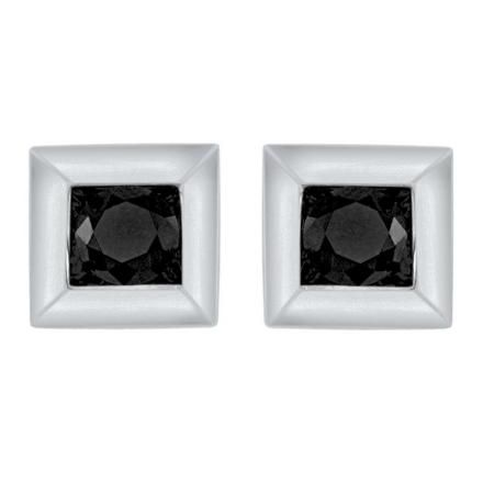 Simple Square Black Diamond Studs For Him Perfect Lasting Gift Princess Cut