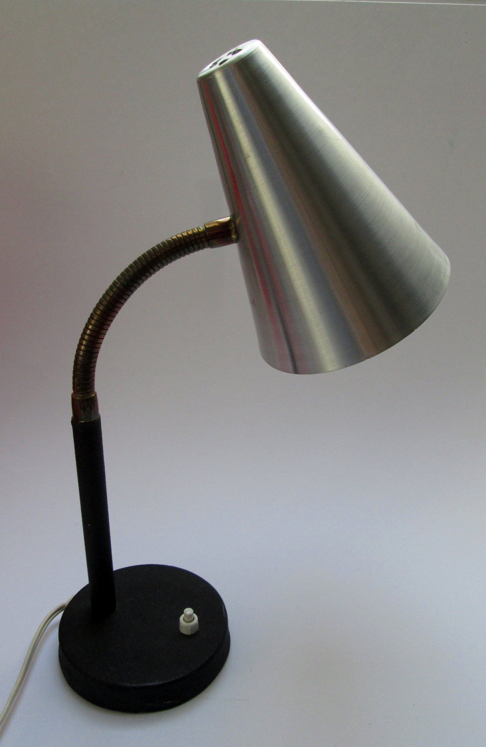 1960s Mid Century Vintage Danish Desk Lamp Also Wall Lamp In Black Brass And Aluminium 110 And Or 220 Volt Vintage Danish Desk Desk Lamp Lamp