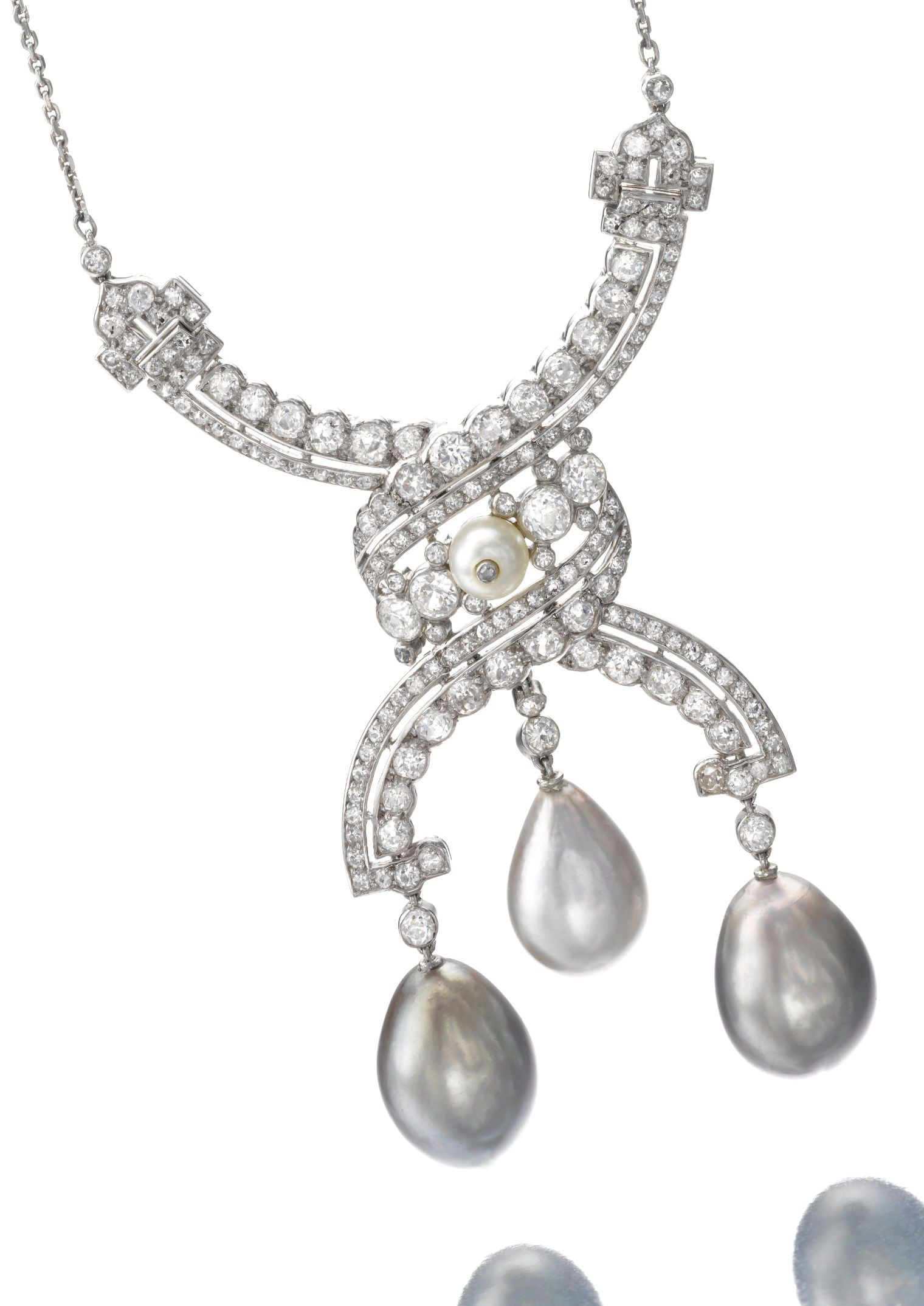 Cartier an attractive belle epoque natural pearl and diamond