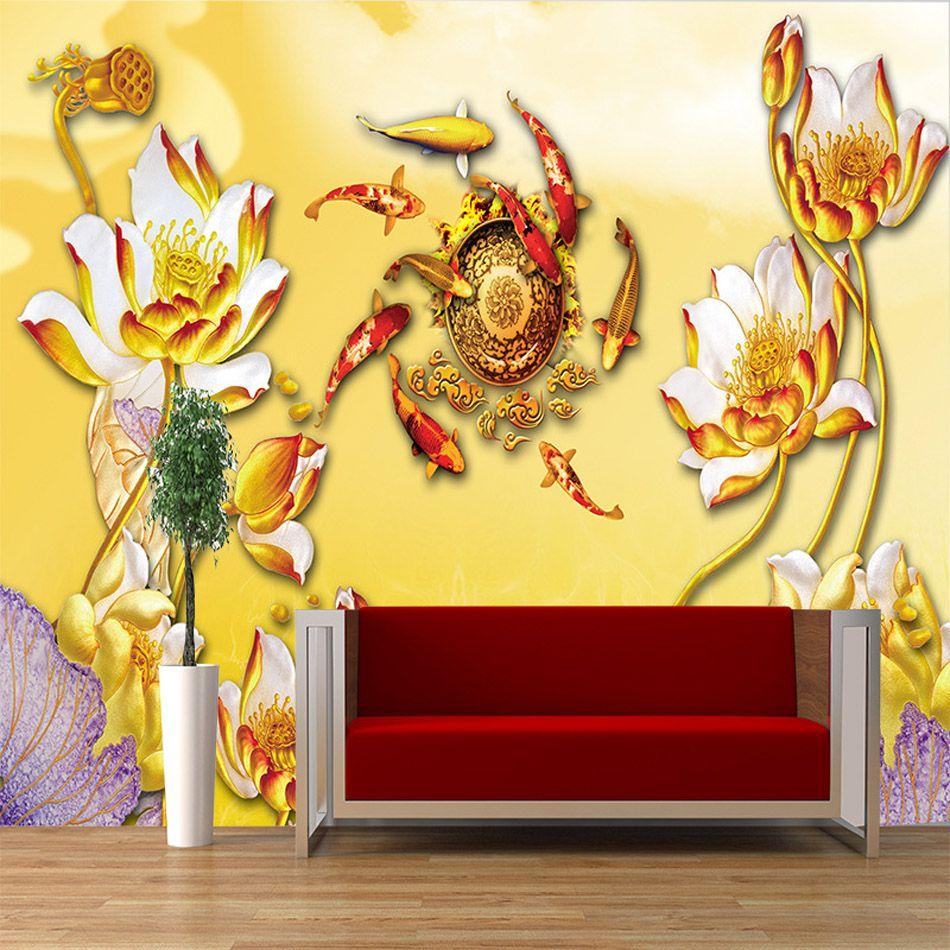 ShineHome-Gold Fish by Lotus Vintage Art Wallpaper 3d for Livingroom ...