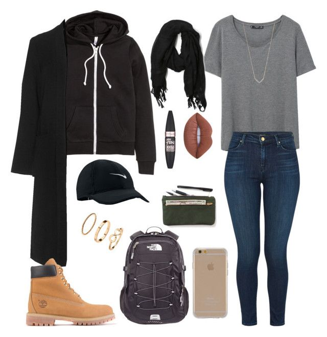 """Untitled #232"" by kingrabia on Polyvore featuring H&M, JunaRose, MANGO, J Brand, NIKE, Love Quotes Scarves, Timberland, The North Face, Agent 18 and Adina Reyter"