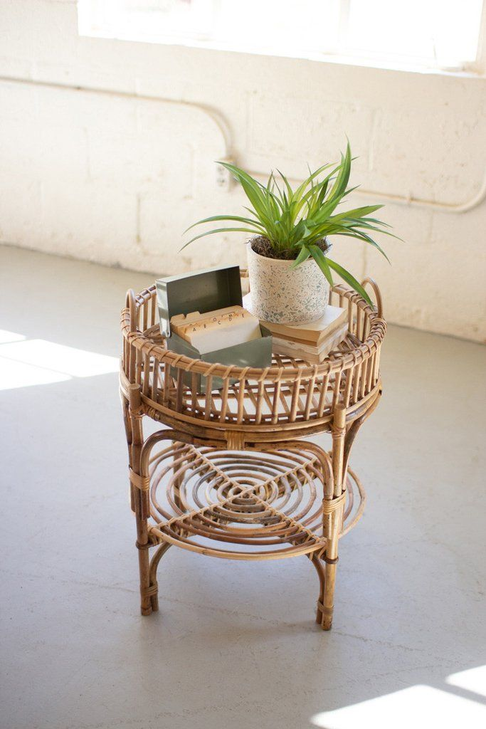 Photo of Kalalou Cane Table With Removeable Tray