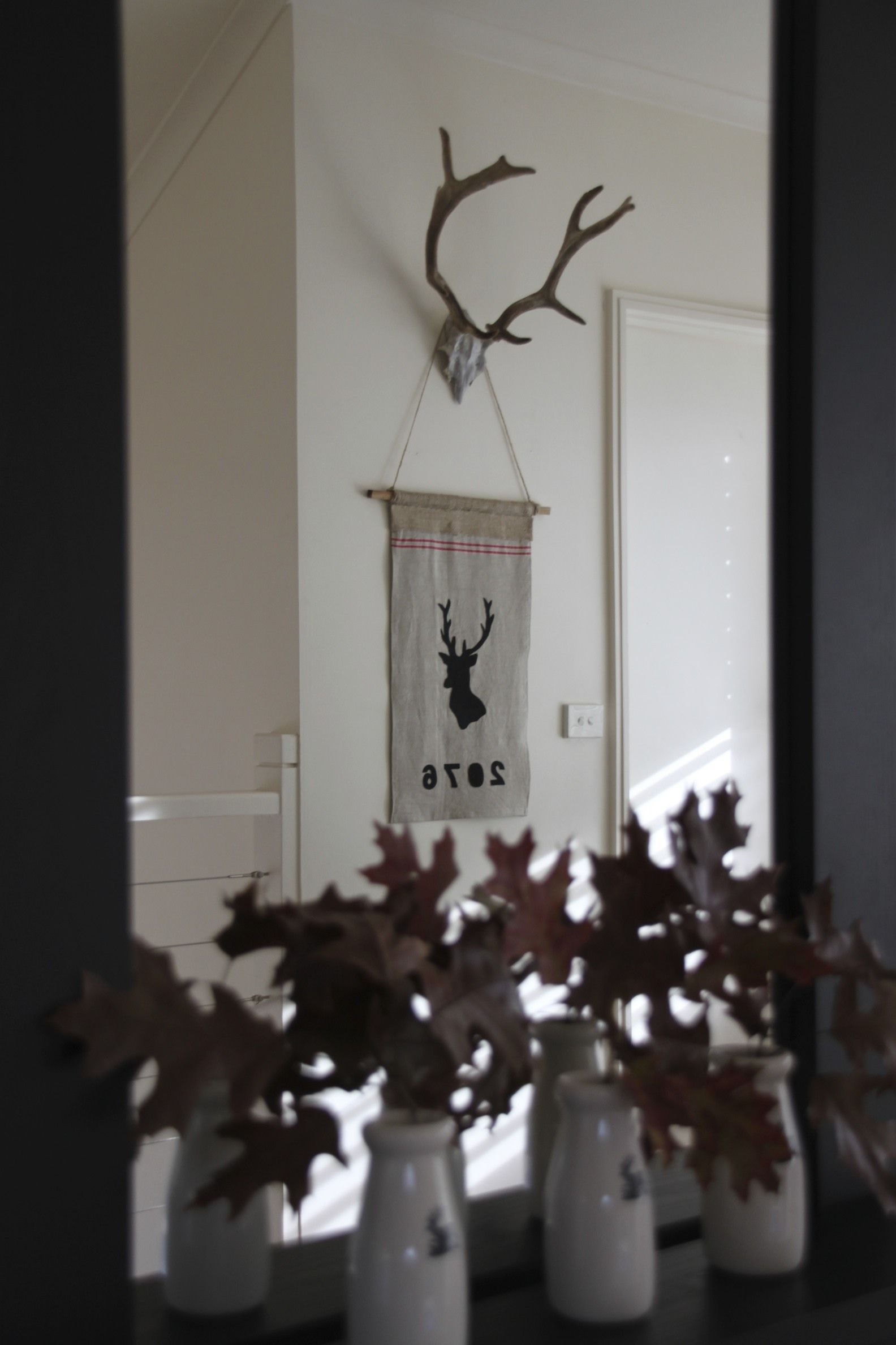 Gorgeous customised postcode deer banners, shown here with hand stitched felt on Vintage French Mangle Cloth.  Message me with your requested postcode - I will make to order.