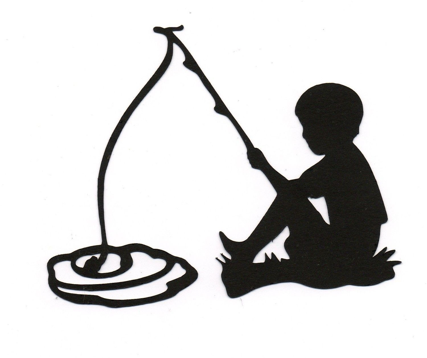 Boy child fishing silhouette die cut for by for Little kid fishing pole