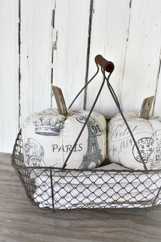 Fabric Pumpkins-French Inspired