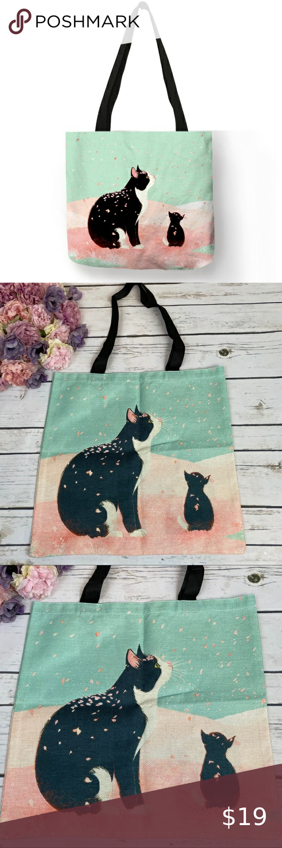 Eco Friendly Folding Cat Kitten Tote Bag In 2020 Cats And Kittens Tote Bag Kitten