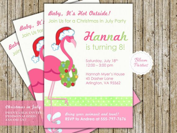 christmas in july invitation birthday party pool party flamingo swim