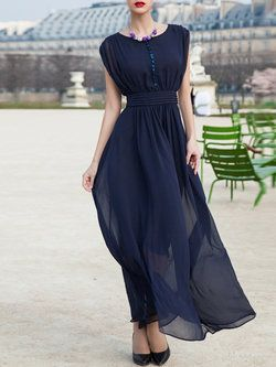 8cd8a7715df Dark Blue Casual A-line Buttoned Crew Neck Maxi Dress