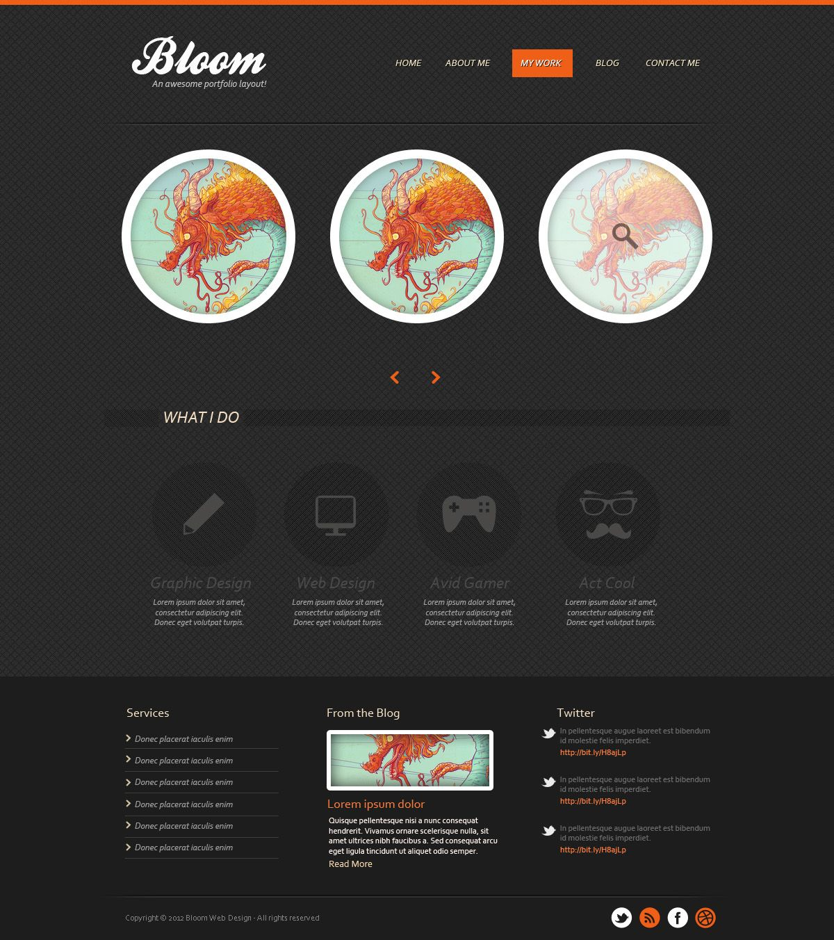 Photoshop archives designbump designbump features pinterest learn how to create a professional dark textured portfolio template using adobe photoshop to create this layout well be using patterns creating baditri Images
