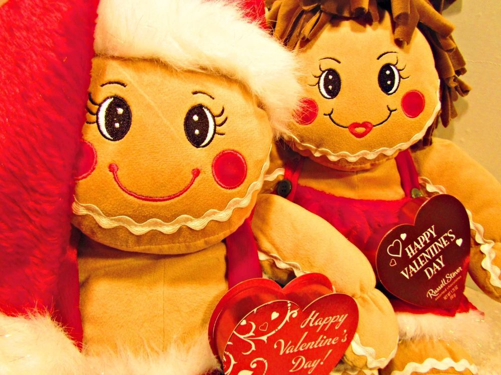 VALENTINES GIFT PLUSH GINGERBREAD COUPLE 16\