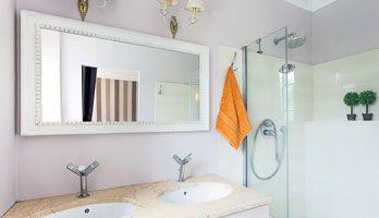 White Framed Mirror For Bathroom. Custom Size Mirror With Decorative White Frame