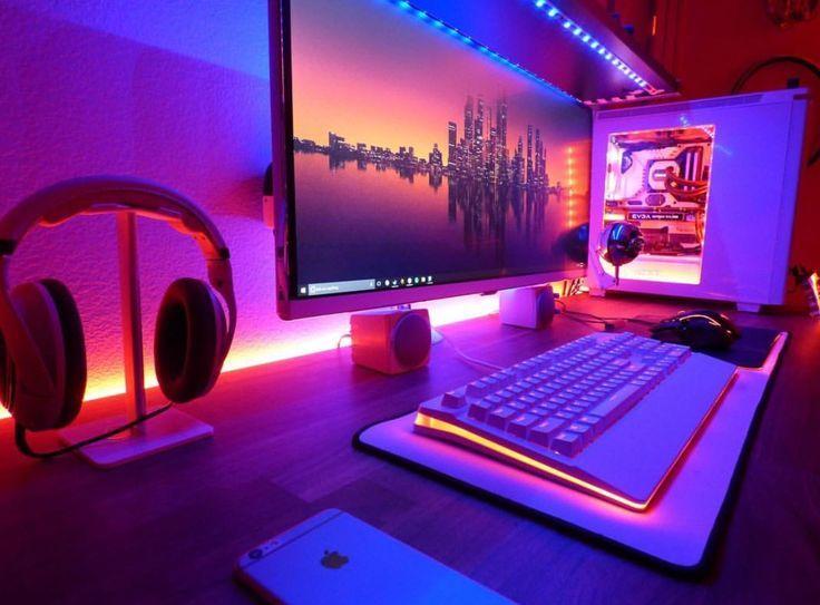 Schöne Über moderne Ideen für Computertische und Bücherregale für Ihr stilvolles Zuhause #gamingsetup