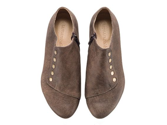 Grace Chocolate Brown Shoes Leather Shoes Flats di TamarShalem