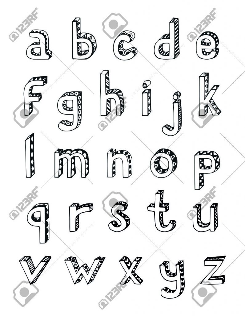 How to draw the alphabet in 3d letters pencil drawing