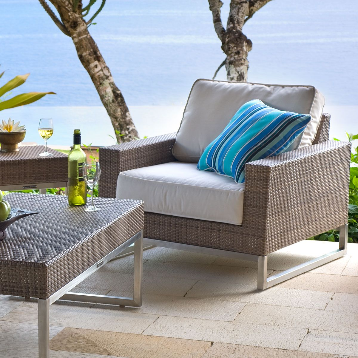 Contemporary Wicker Club Chair Palms Collection Thos Baker Wickerchair Outdoorfurniture Wickerfurniture