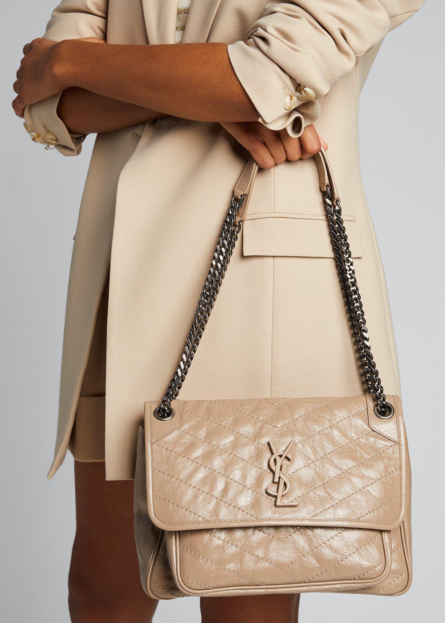 Saint Laurent Niki Medium Crinkled Calf Flap Top Shoulder Bag In 2021 Shoulder Bag Bags Leather Shoulder Bag