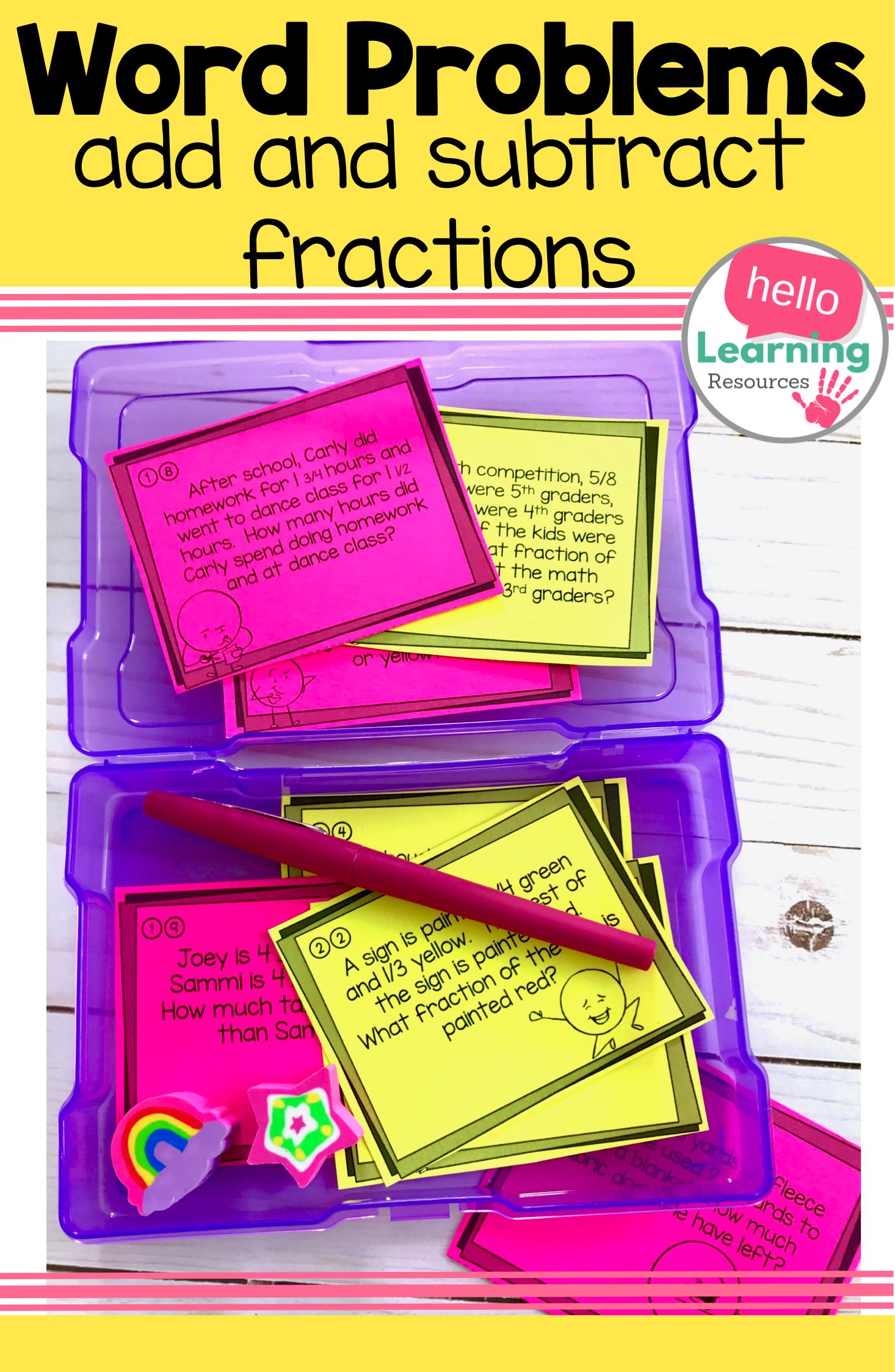 Add And Subtract Fractions Word Problem Task Cards