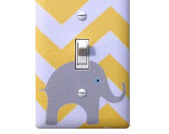 Gray and Peach Chevron Elephant Light Switch Plate / by SSKDesigns