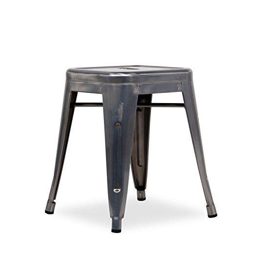 Sgabellino URAL Metallo Spazzolato Brushed Steel Unica Inspiracin Tolix H45 De Xavier Pauchard