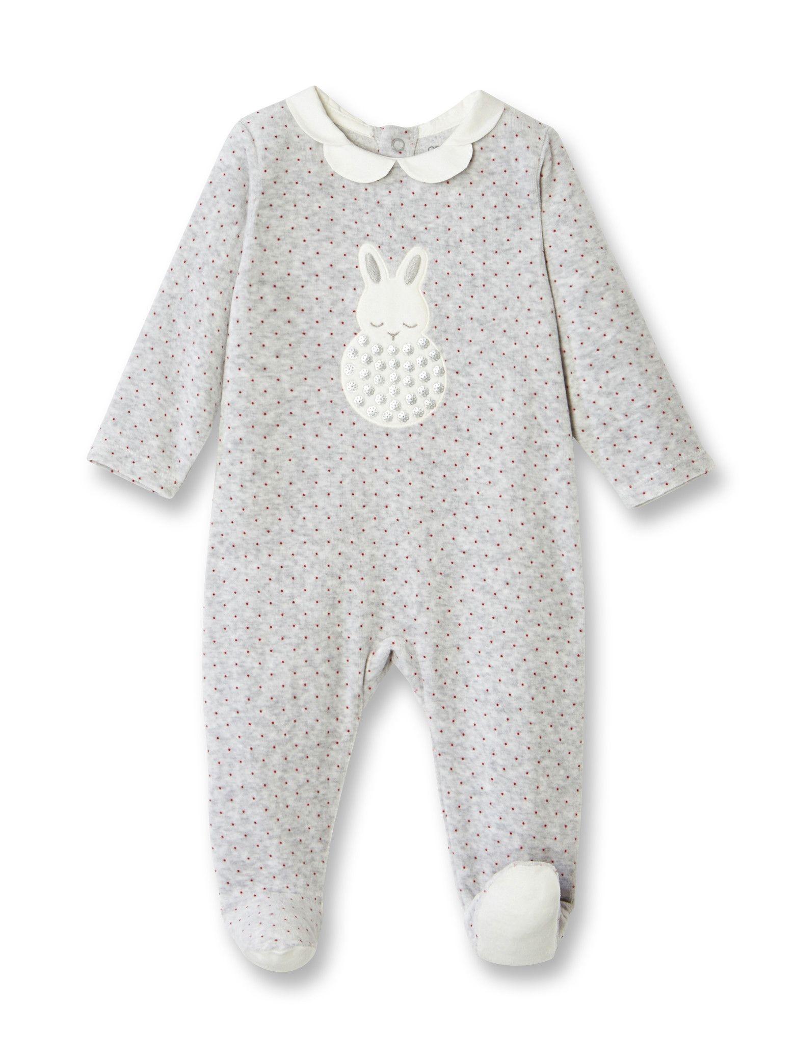 0a3f6dead4179 Dors-bien velours à pois et motif sequins - Imprimé gris - Bébé fille -