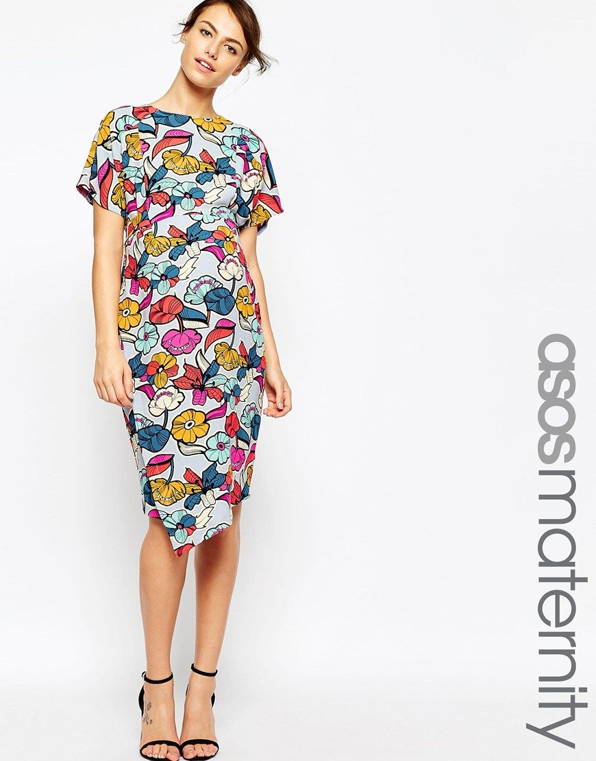 89300b58c4b5f Image 1 of ASOS Maternity Dress With Asymmetric Skirt And Tie Waist In Bold  Floral Print
