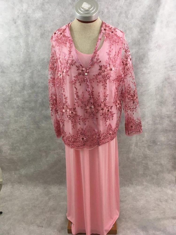 Formal Dress 2 pc Kelly Lynn pink sparkle jacket Size 2XL long sleeveless maxi #kellylynn #Formal