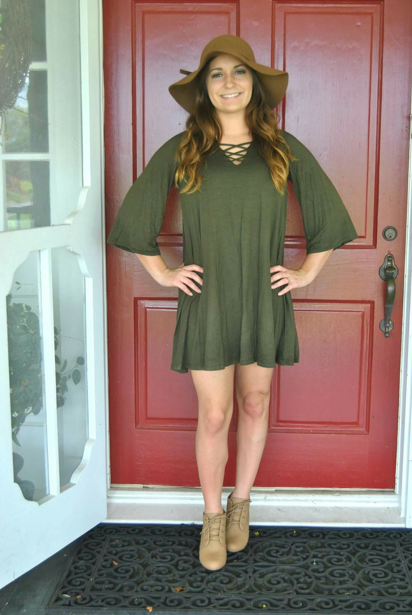 Green lace up dress  Olive green semi sleeve  swing dress lace up detailed