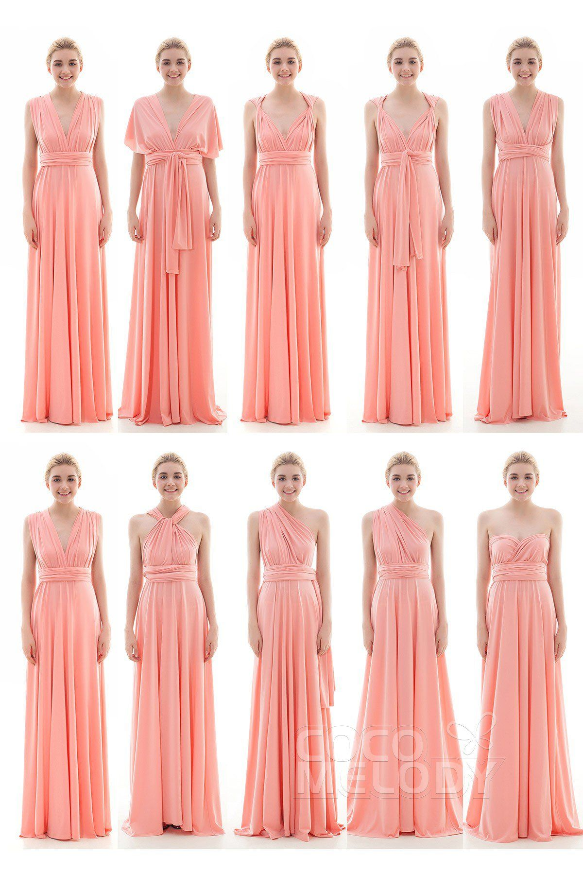 eb6c16a3e23 Divine Sheath-Column Natural Floor Length Knitted Fabric Sleeveless  Convertible Bridesmaid Dress COEF16001 Cocomelody bridesmaid dress  bridesmaid ...