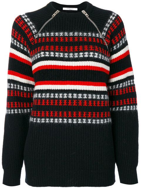 GIVENCHY Zip-Detail Embroidered Sweater. #givenchy #cloth #sweater