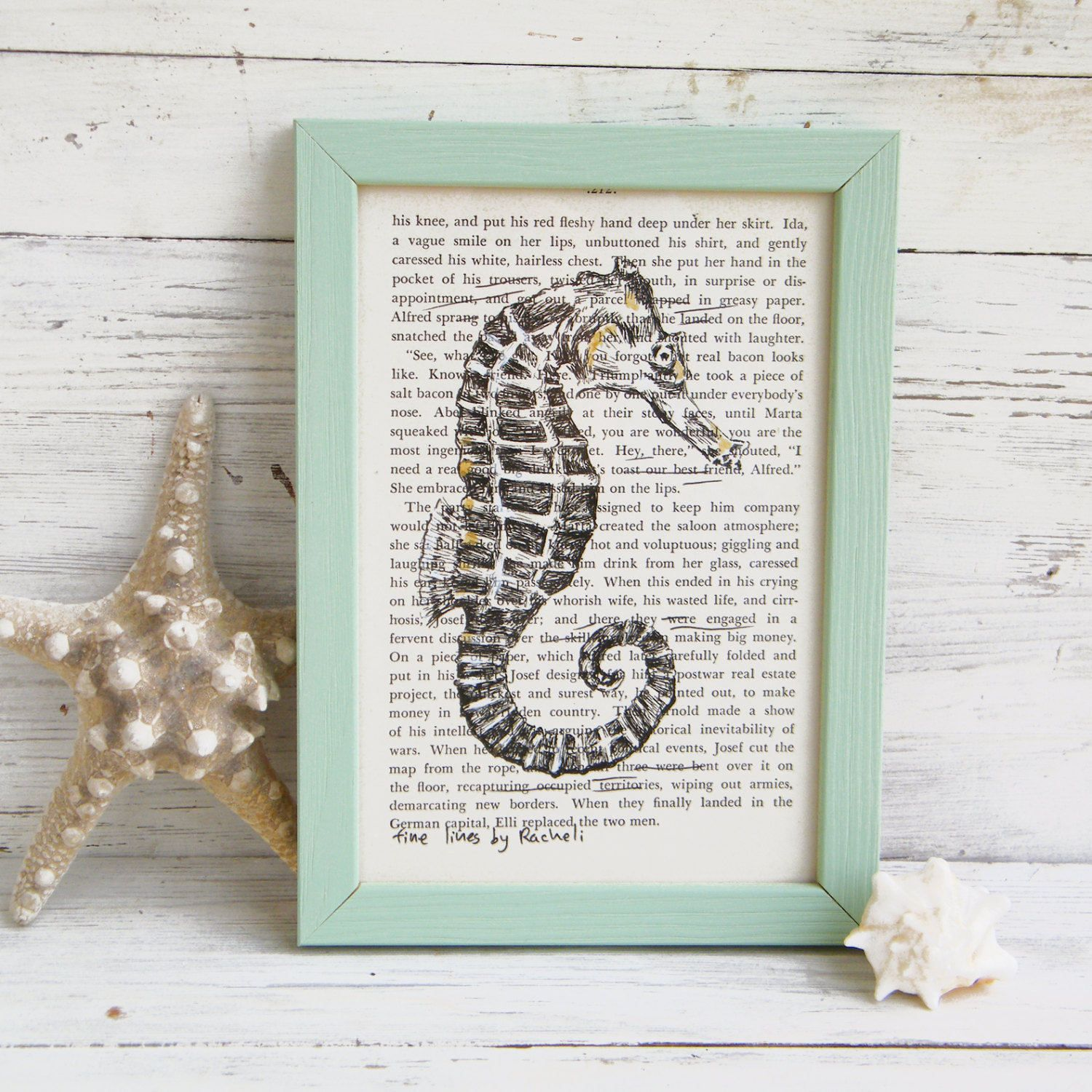Bathroom Sign In Book bathroom decor, framed picture, seahorse poster, bathroom sign