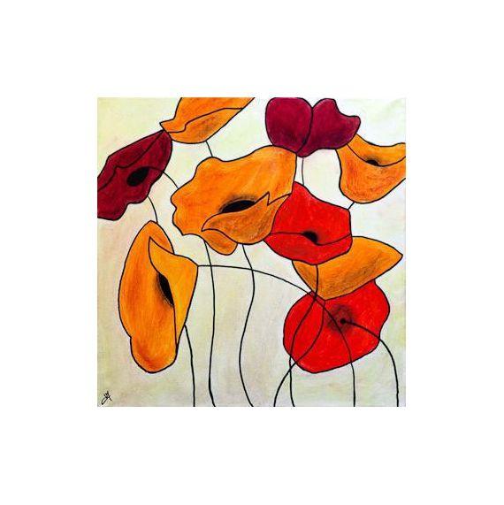 Tableau Peinture Achat Tableau Naïf Fleurs Coquelicots Fleurs