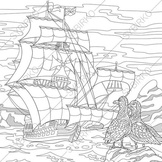 Coloring Page For Adults Digital Coloring Page Seagull Etsy Anti Stress Coloring Book Stress Coloring Book Coloring Pages