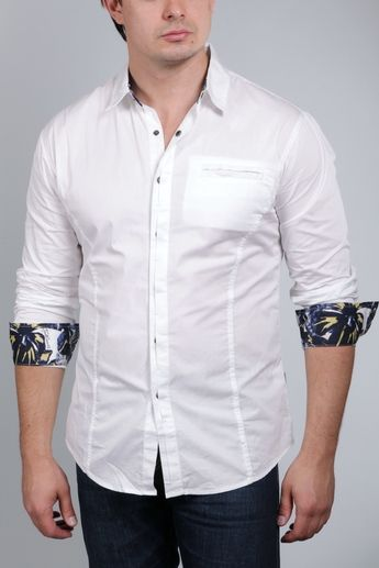 Just Cavalli Men's White Button Down Shirt Premium cotton fabric ...