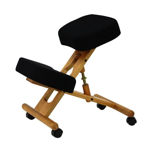 the classic kneeling chair has a wood frame with soft nylon casters to help