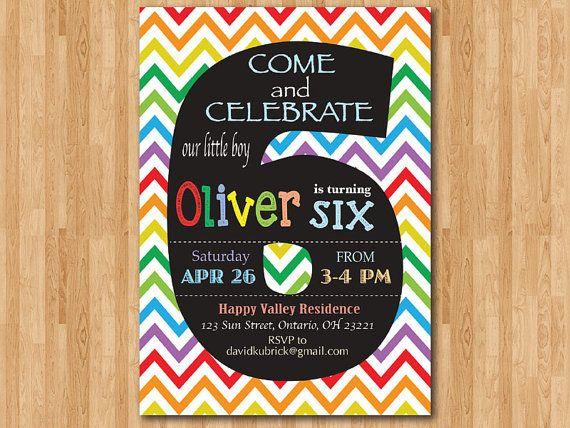 Rainbow 6th Birthday Invitation Colorful Chevron Party Invite Chalkboard Sixth B