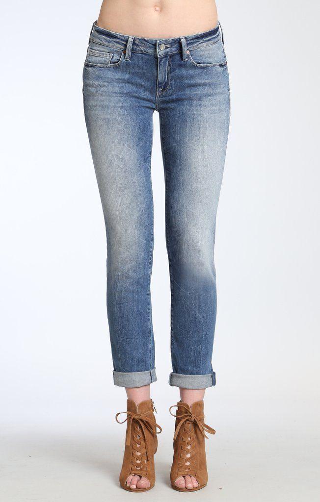 Mavi Jeans Womens Emma Slim Boyfriend in Light Foggy Vintage