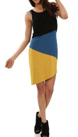 Asymmetrical Color-Block Dress