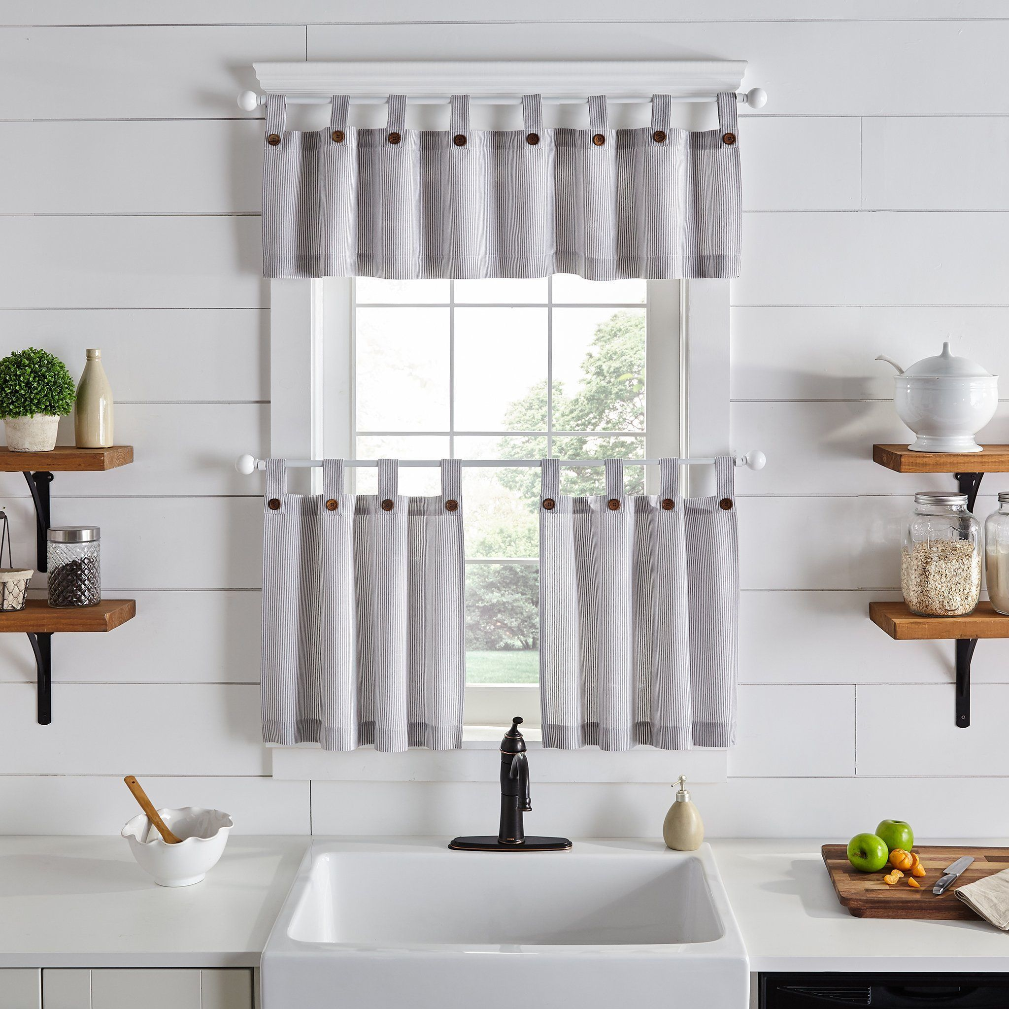 Tucker Ticking Stripe Button Tab Top Window Tier And Valance In 2020 Farmhouse Kitchen Decor Farmhouse Kitchen Curtains Valance