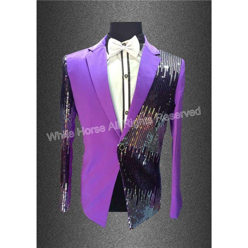 Mens Purple Blazer Sequins Prom Dresses Paillette Male Master Stage  Costumes Men top Host Clothing Singer Blazer For Men 315b99cb0960