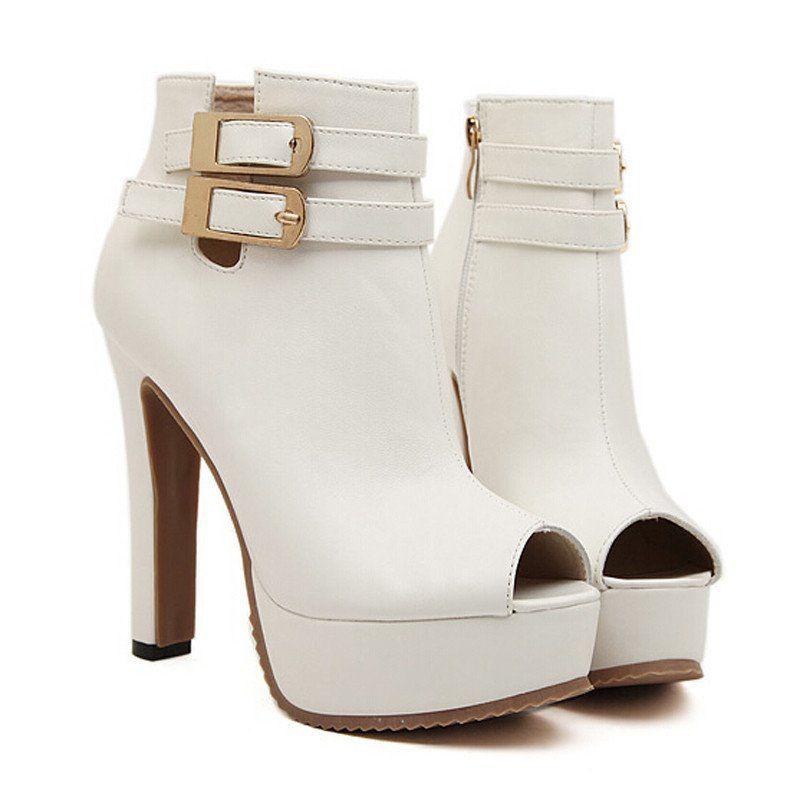 Female High Heel Open Toe Boots