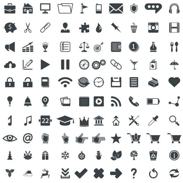 100 pictogramas vetor universais | Vectores gratis, Plantillas de ...
