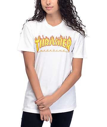 bf556dad5856 Thrasher Flame Logo White Boyfriend Fit T-Shirt