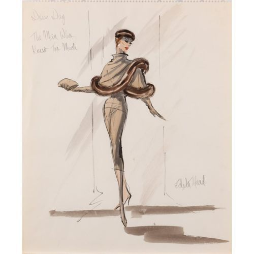 """Edith Head costume design sketch for Doris Day as """"Josephine Conway McKenna"""" in an elegant fur-trimmed ensemble. From Alfred Hitchcock's The Man Who Knew Too Much - (Paramount, 1956)"""