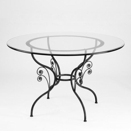 Table En Fer Forge Ronde Avec Plateau En Verre Grazia Table Outdoor Tables Decor