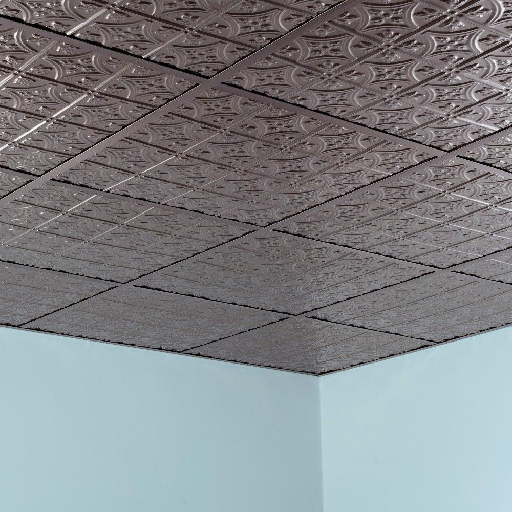 Fasade Traditional Style Brushed Nickel Foot X Foot Layin - 1 x 2 ceiling tiles
