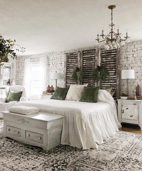 A Farmhouse Master Bedroom Revamp Using Soft White Bricks Wallpaper From Milton King Vintage Bedroom Decor Master Bedrooms Decor Farmhouse Bedroom Decor