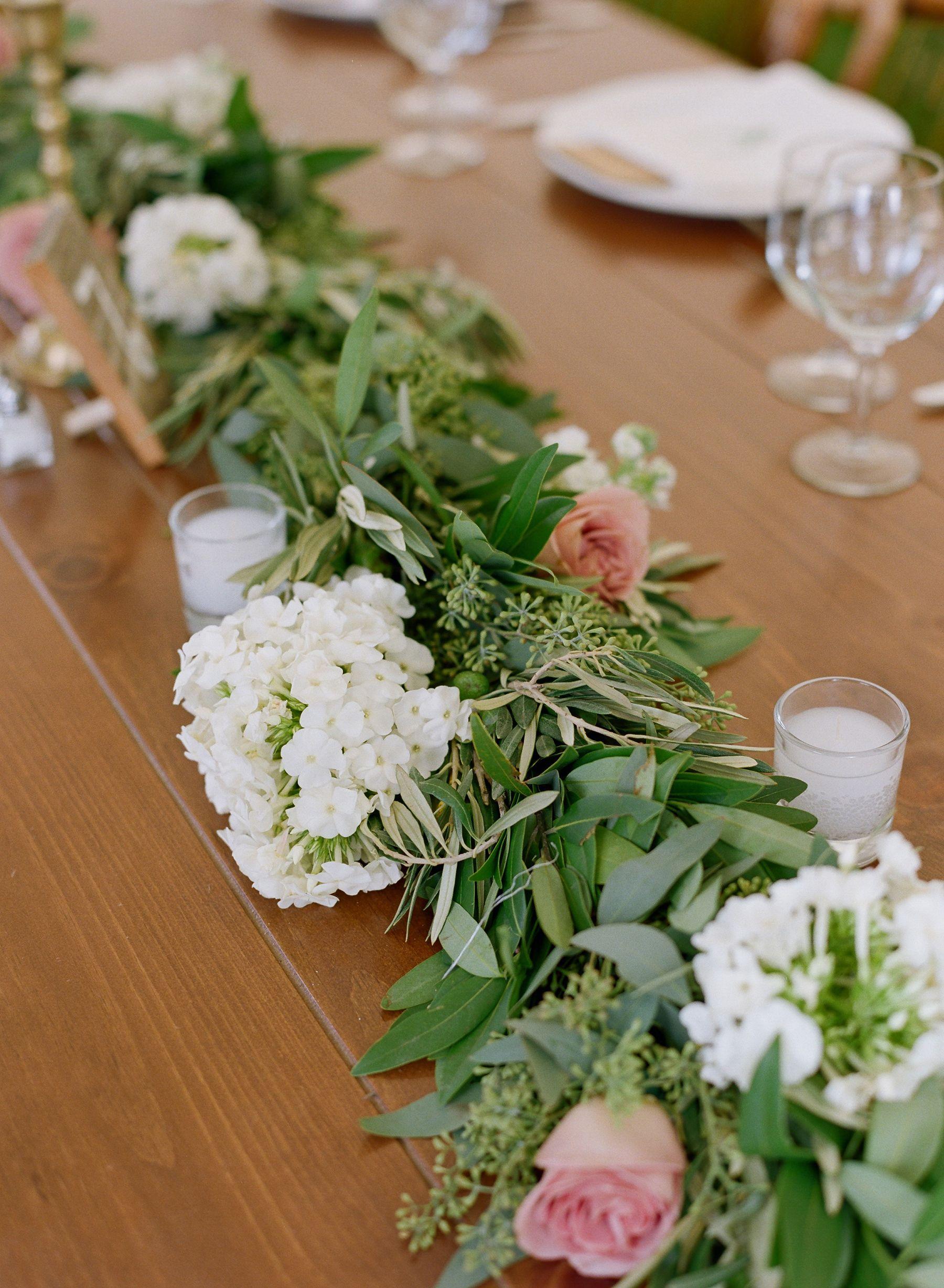 White Hydrangea Seeded Eucalyptus Garland Reception Centerpieces Wedding Table Garland Reception Centerpieces White Hydrangea