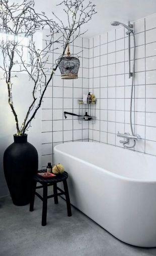 Joints noirs et carrelage blanc salle de bain Pinterest - Repeindre Du Carrelage De Salle De Bain