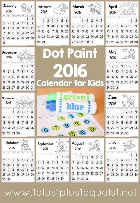 Dot Fun  Calendar For Kids  Great For Tot School Preschool